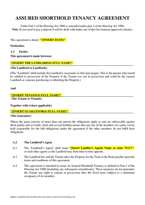 free tenancy agreement template assured tenancy agreement template