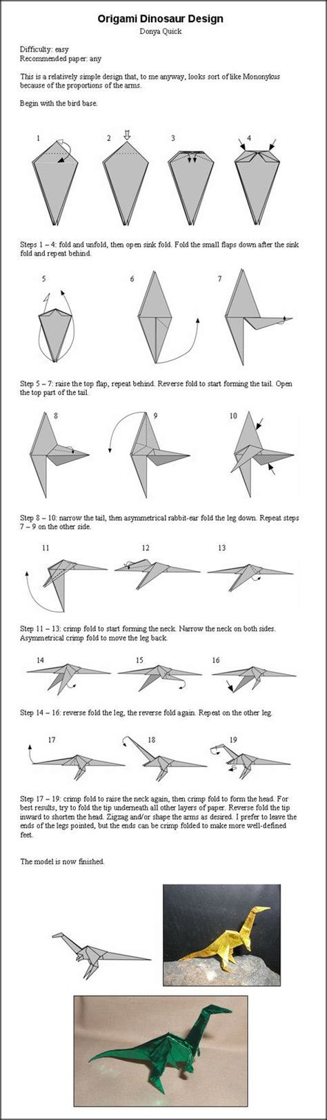 Origami Dinosaur Band - best 25 origami ideas on