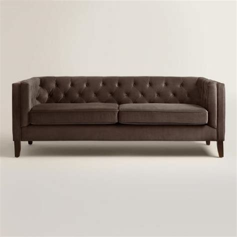 brown velvet couch chocolate brown velvet kendall sofa world market