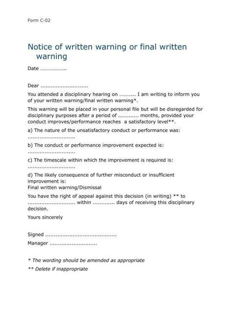 sample warning letter employee gross misconduct