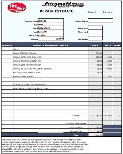 13 Free Sle Auto Repair Estimate Templates Printable Sles Repair Estimate Template
