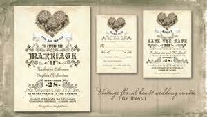 read more vintage floral love heart wedding invitation