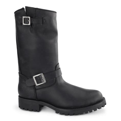 mens black leather biker boots grinders one unisex mens womens leather buckle
