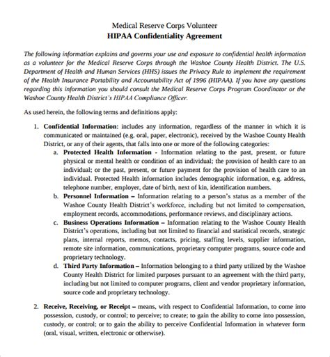 sle confidentiality agreement hipaa confidentiality agreement template 28 images