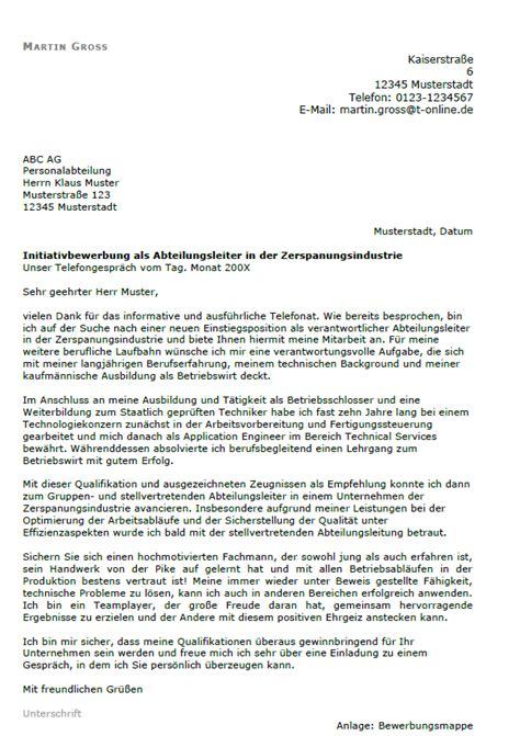 Initiativbewerbung Anschreiben Techniker Bewerbung Abteilungsleiter Fertigung Berufseinsteiger Sofort