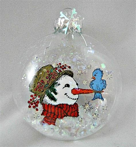 glass snowman christmas ornament by