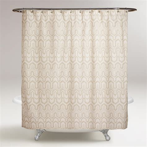 ivory shower curtains ivory and sand greer shower curtain world market