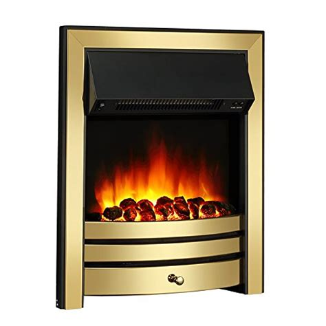 Remote Electric Fireplace by Roxby Inset Electric Brass Trim And Fret 220 240vac