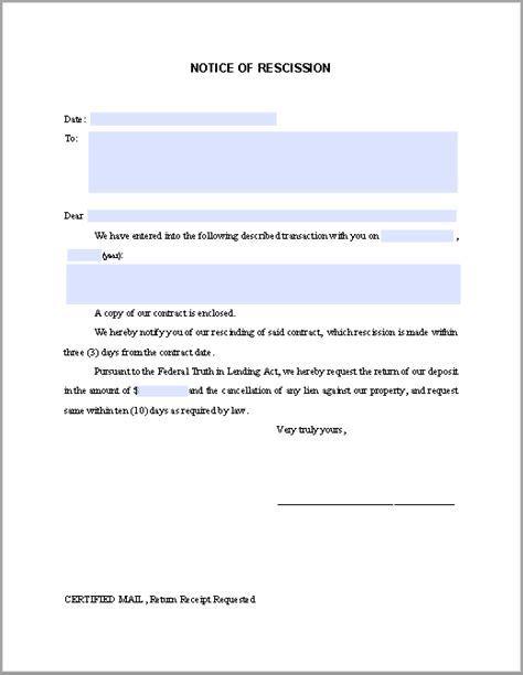 Contract Rescission Letter Notice Of Rescission Free Fillable Pdf Forms Free Fillable Pdf Forms