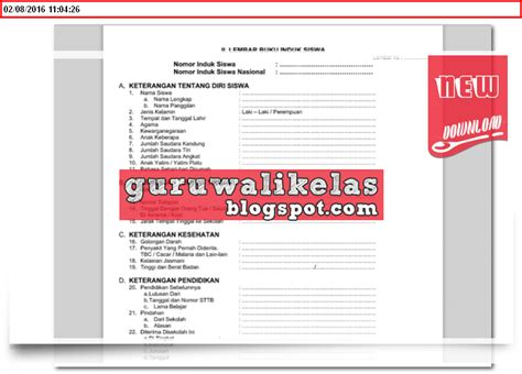 format buku mutasi siswa sma contoh format buku induk siswa lengkap untuk tk sd mi