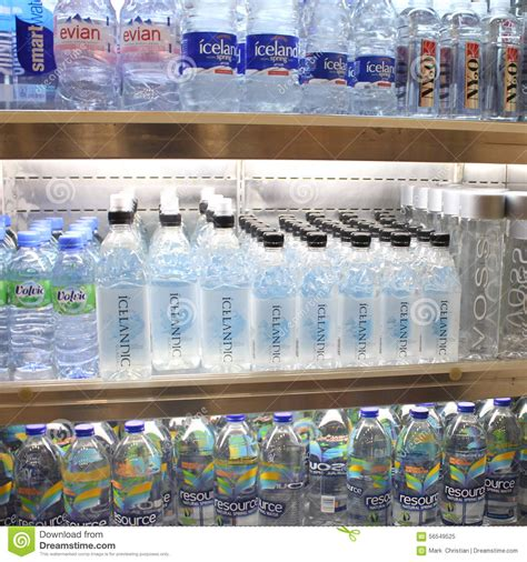 Shelf Bottled Water by Bottled Water On Store Shelf Editorial Photo