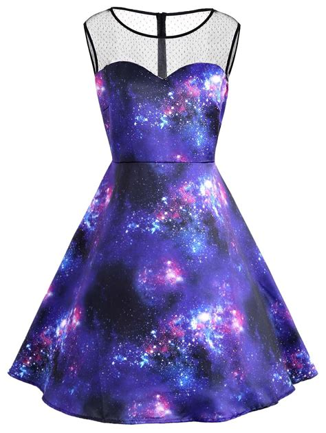 galaxy pattern clothes plus size galaxy print sleeve vintage dress in blue 5xl