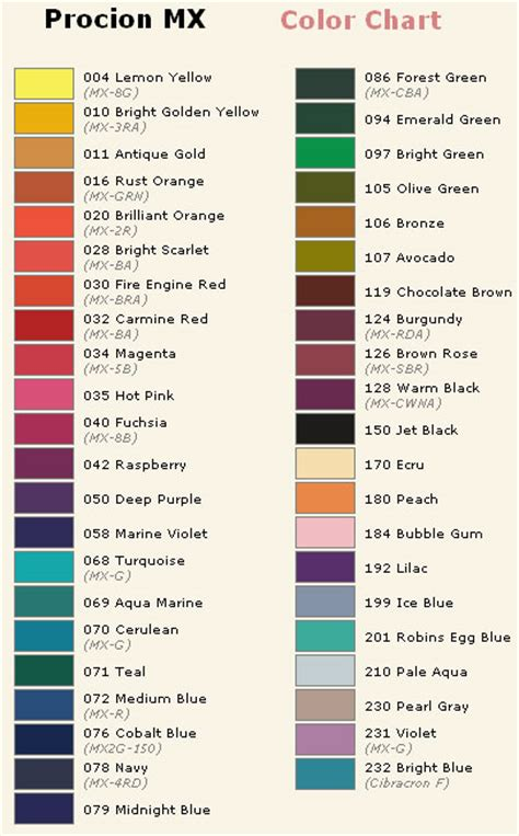 fabric dye color chart images