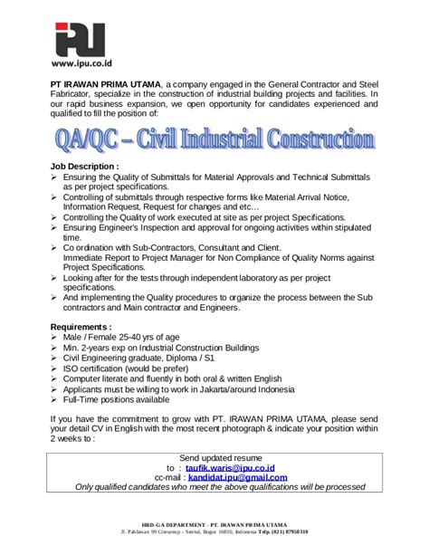 Construction Qc Manager Resume by Qa Qc Civil Industrial Construction