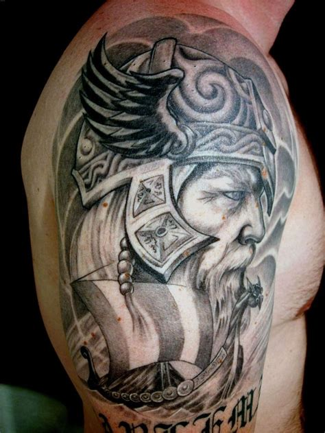 viking warrior tattoo designs viking warrior grey ink on shoulder jpg 1944