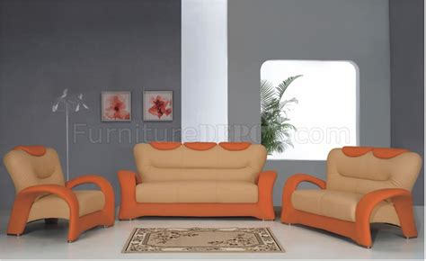 Beige And Orange Living Room by Orange And Beige Two Tone Leather Living Room Sofa W Options