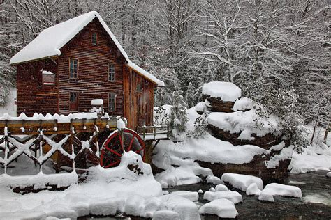 file winter snow falling glade creek gristmill picture