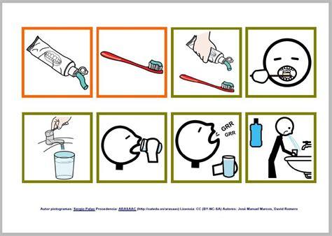 toilette pide rutinas diarias cepillado de dientes con pictogramas de