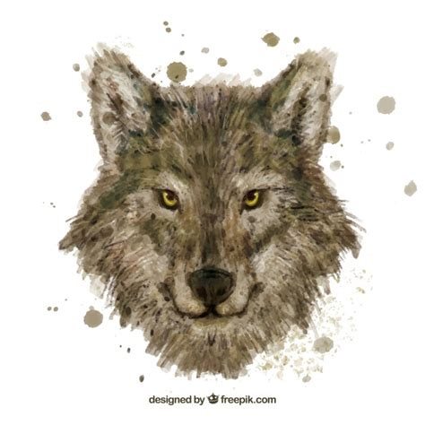 watercolor wolf head vector free download