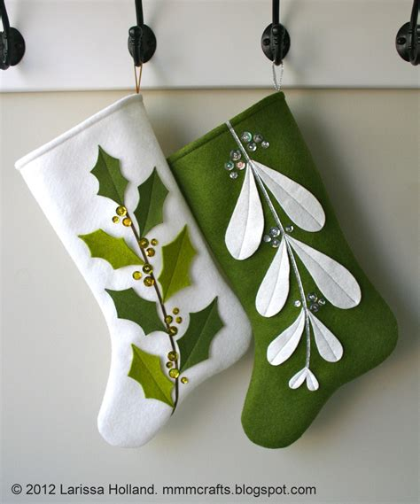 Pattern For Felt Stocking | mmmcrafts mistleholly felt stocking pattern now available