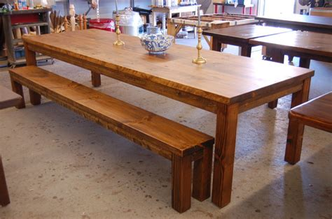 farm style dining table with bench large parsons style farm table with bench modern