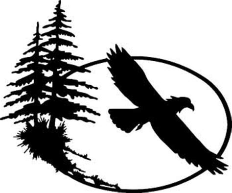Black Tree Wall Sticker eagle window decal eagle in circle eagle with pine trees