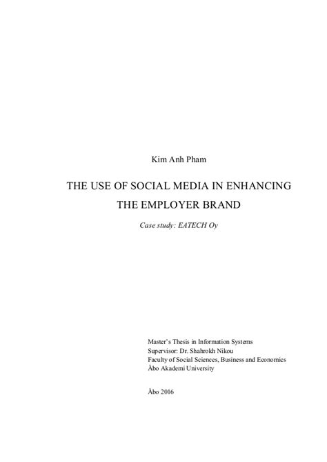 master thesis social media branding the use of social media in enhancing the employer brand
