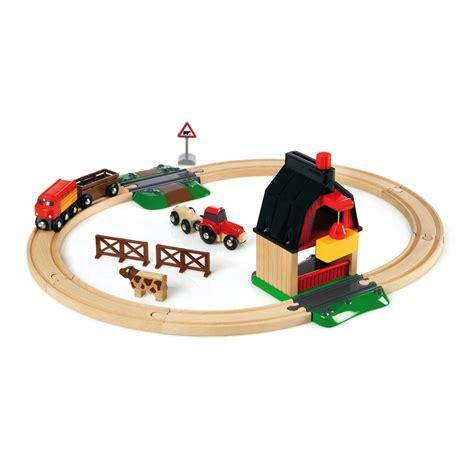 wooden brio train set brio wooden railway farm railway set at toystop