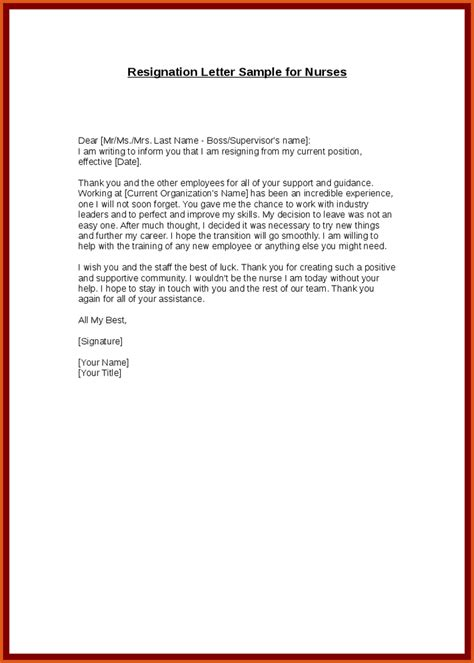 Sle Letter Of Resignation From Nursing by Resignation Letter General Resumes