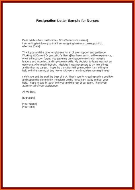 resignation letter sle for nurses resignation letter general resumes
