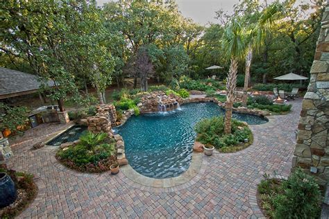 swimming pool with paver deck dallas landscape design