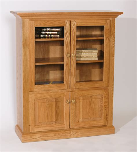 furniture un varnish wooden book cabinet with swing glass