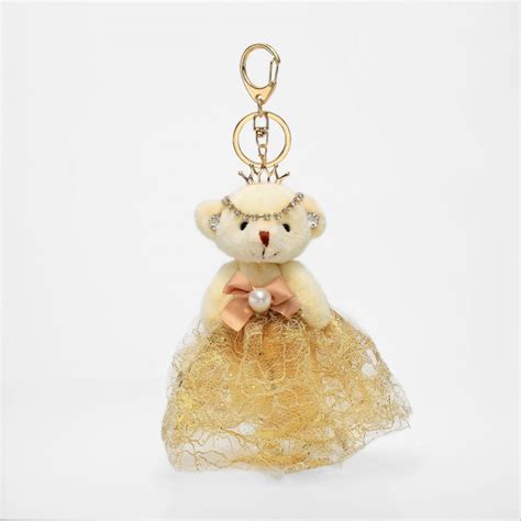 Teddy Keychain teddy keychain wedding lace dress princess keyring