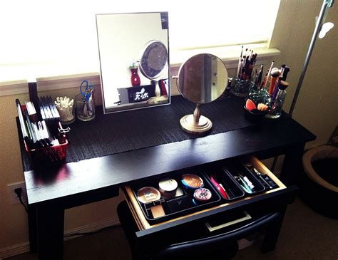 diy wood makeup vanity table painted with black color plus