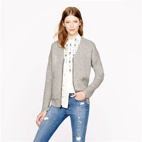 Jaket Sweater Marshmello 09 j crew collection bonded zip sweater jacket in gray lyst