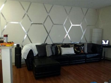how to decorate a large wall designed decor accent wall using my geometric skills some foil tape
