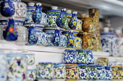 Souvenir Israel shop stands with traditional israeli souvenirs stock