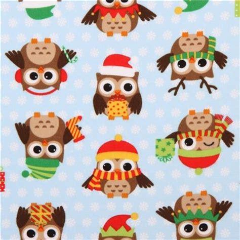 Decorative Owls blue christmas owl flannel fabric holiday hoot fabric