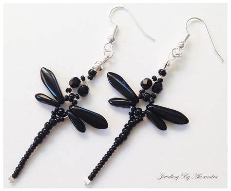 beaded dragonfly earrings beaded dragonfly earrings jet black