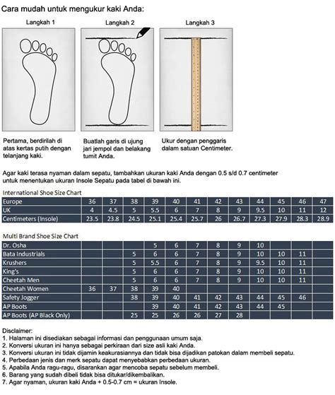 Gambar Sepatu Safety Merk Krisbow cara mengukur ukuran sepatu dan tabel standard ukuran sepatu