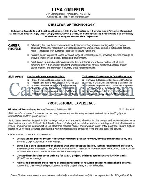 It Director Resume by It Director Resume Sle Exle