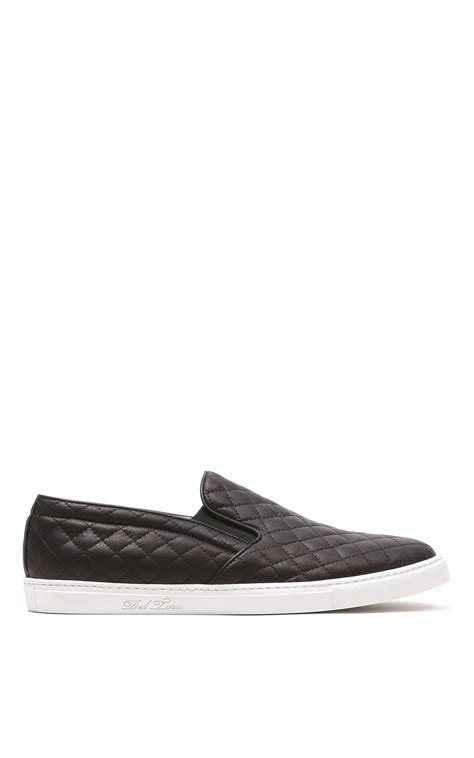 toro black quilted leather slip on sneaker with white
