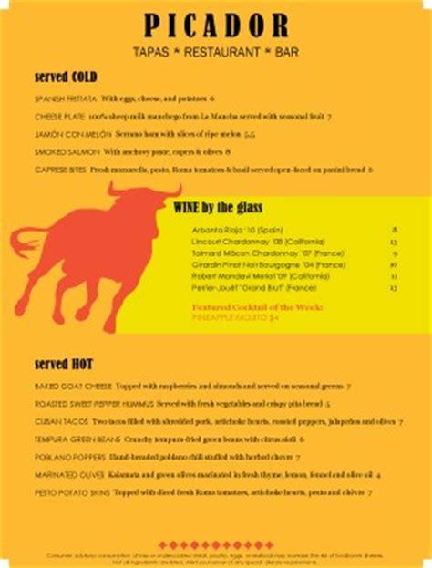 tapas menu template tapas bar menu tapas menus