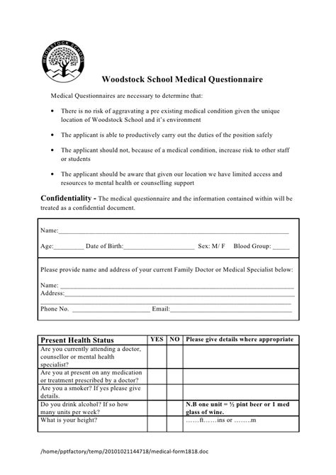 Medical Form Health Questionnaire Template