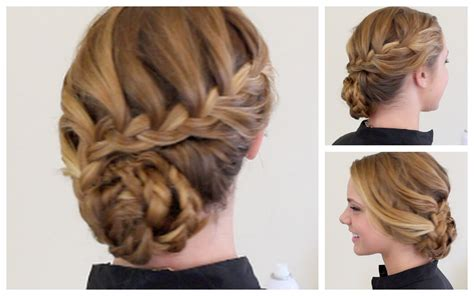 prom hairstyles for medium length hair with braids braided formal updo youtube