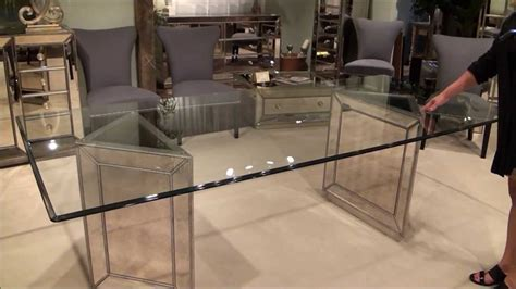 Murano Double Pedestal Mirrored Dining Table by Bassett