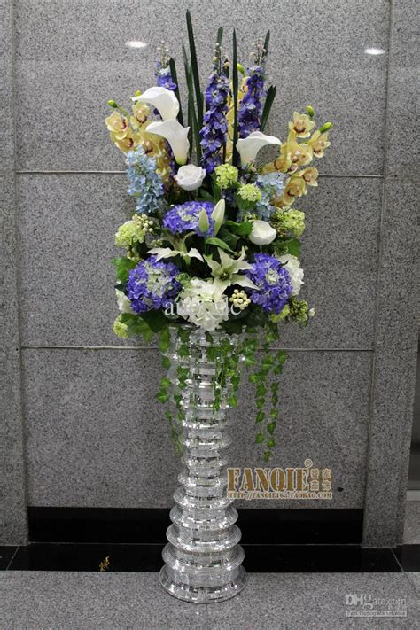 fashion set glass large floor vase set flower modern