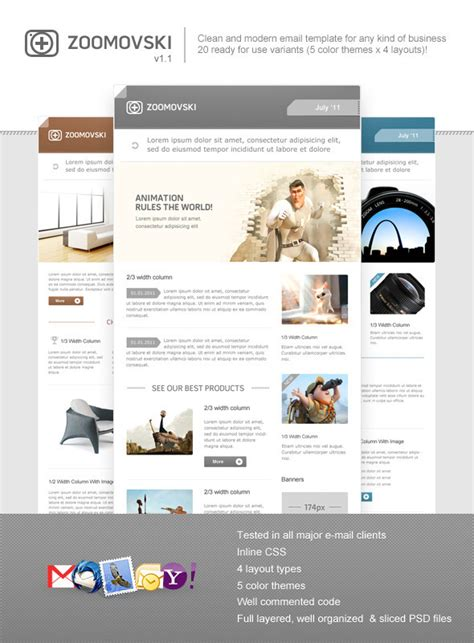 Zoomovski Premium Email Template By Fireform Themeforest Envato Email Templates