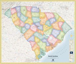 political map of south carolina south carolina political wall map by outlook maps