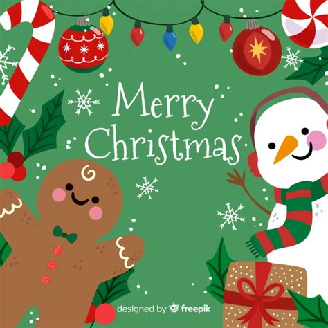 cute merry christmas background  snowman  gingerbread vector